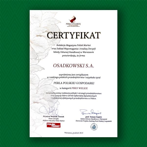 perły polskiej gospodarki certyfikat