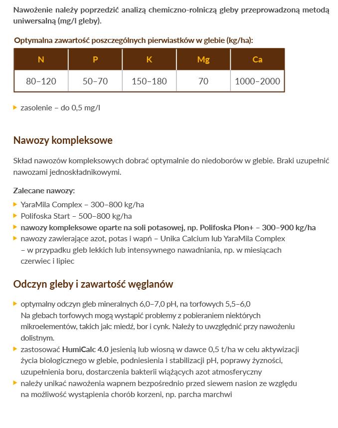 Marchew _ Technologia DSG _Ogólne zalecenia nawozowe